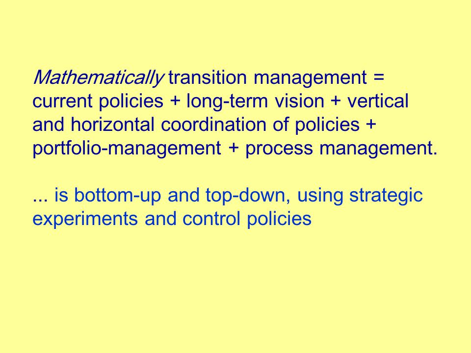 Mathematically transition management = current policies + long-term vision + vertical and horizontal coordination of policies + portfolio-management + process management....