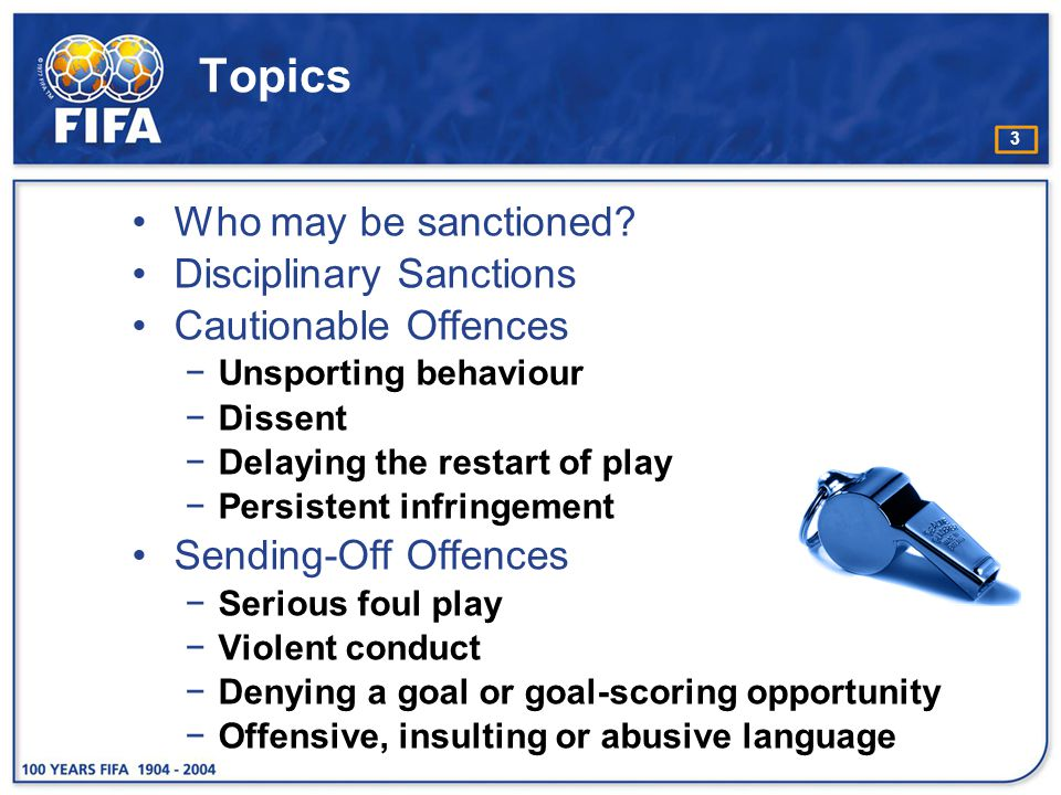 24 Circumstances when a player is cautioned for unsporting behaviour e.g.