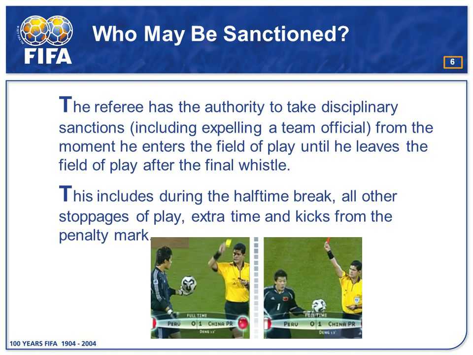37 Serious Foul Play D isciplinary sanctions: −send the player off R estart of play: −direct free kick from the position where the offence occurred, (see Law 13 – Position of Free Kick) −penalty kick (if the offence occurred inside the offender's penalty area)