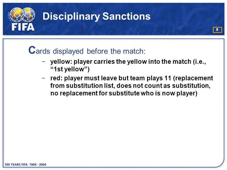 29 Caution for delaying the restart of play R eferees must caution players who delay the restart of play by tactics such as: −taking a free kick from the wrong position with the sole intention of forcing the referee to order a retake −appearing to take a throw-in but suddenly leaving it to one of his team-mates to take −kicking the ball away or carrying it away with the hands after the referee has stopped play −excessively delaying the taking of a throw-in or free kick −delaying leaving the field of play when being substituted −provoking a confrontation by deliberately touching the ball after the referee has stopped play −standing or crossing directly in front of the ball on a free kick