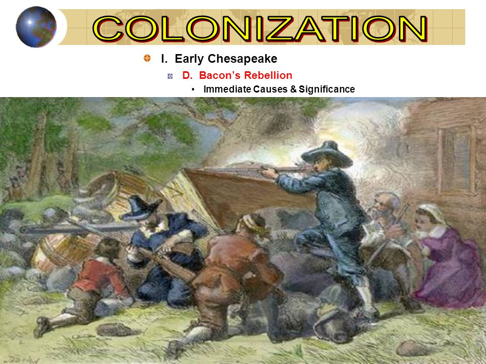 I. Early Chesapeake D. Bacon's Rebellion Immediate Causes & Significance