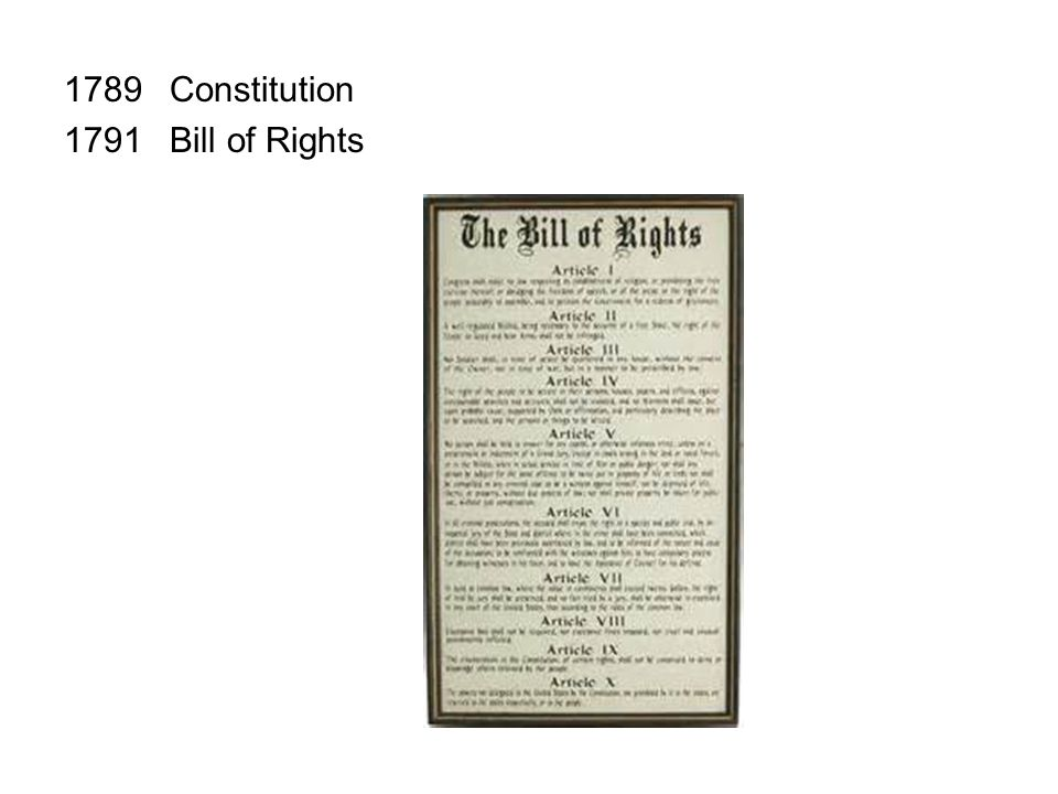 1789Constitution 1791Bill of Rights 1833Barron v. Baltimore, 32 U.S. 243 (1833) 1857Dred Scott v. Sandford, 60 U.S. 393 (1857) 1861Civil War Begins (e