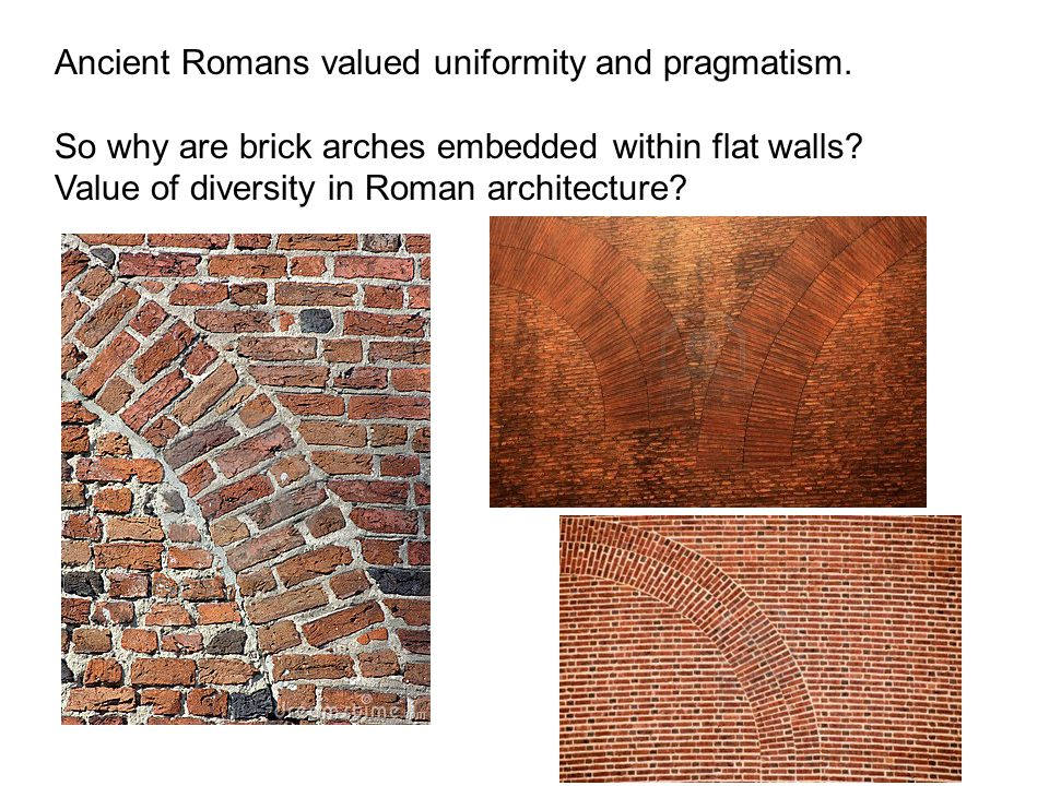 Ancient Romans valued uniformity and pragmatism. So why are brick arches embedded within flat walls? Value of diversity in Roman architecture?