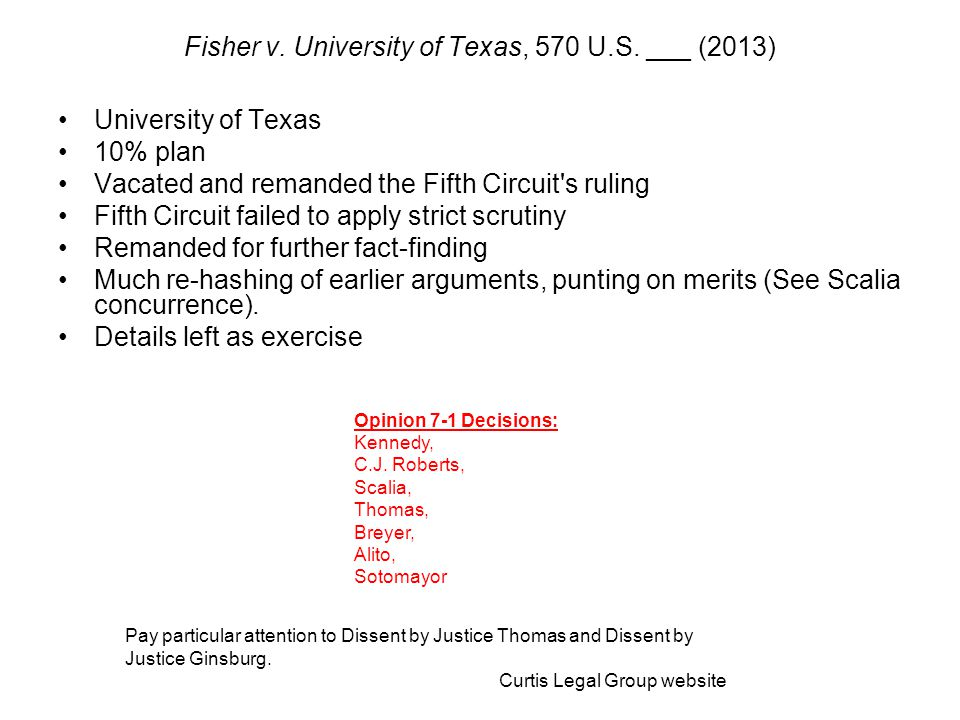 University of Texas 10% plan Vacated and remanded the Fifth Circuit's ruling Fifth Circuit failed to apply strict scrutiny Remanded for further fact-f