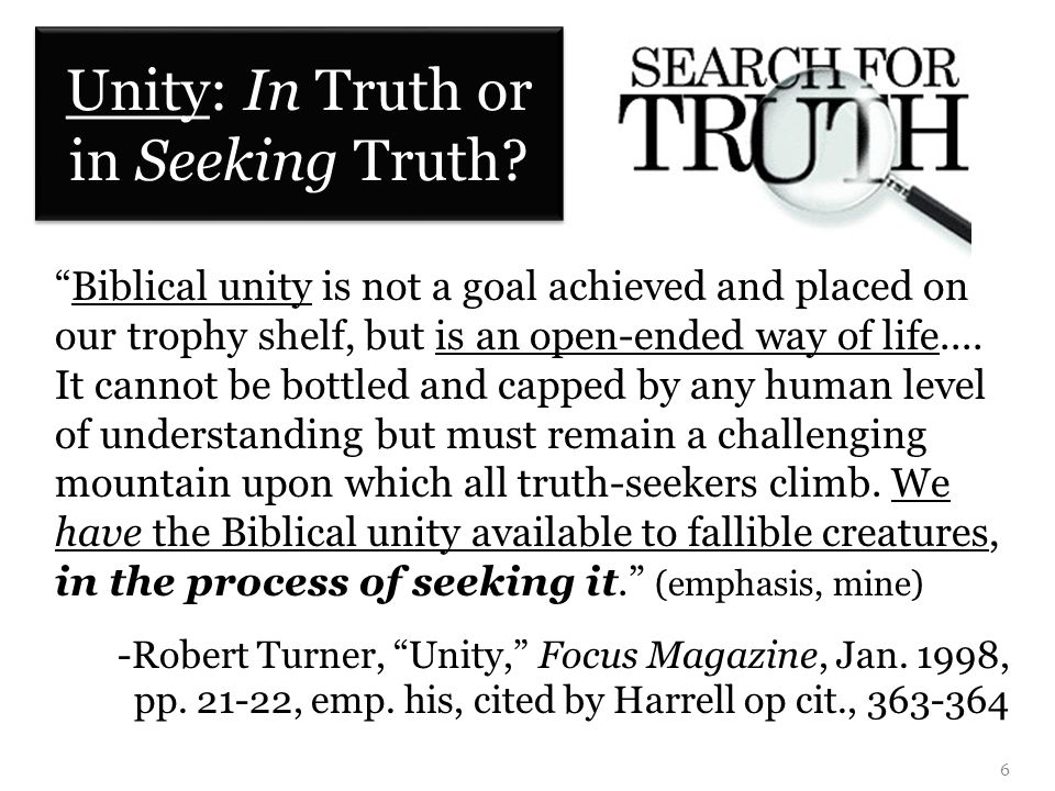 Unity: In Truth or in Seeking Truth.