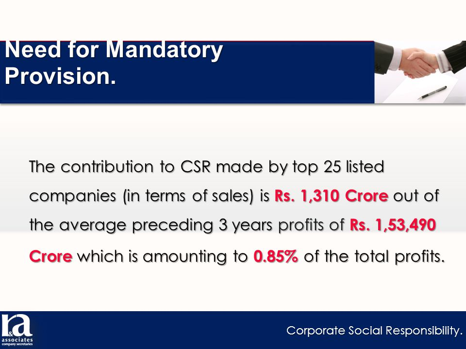 Corporate Social Responsibility. Need for Mandatory Provision.