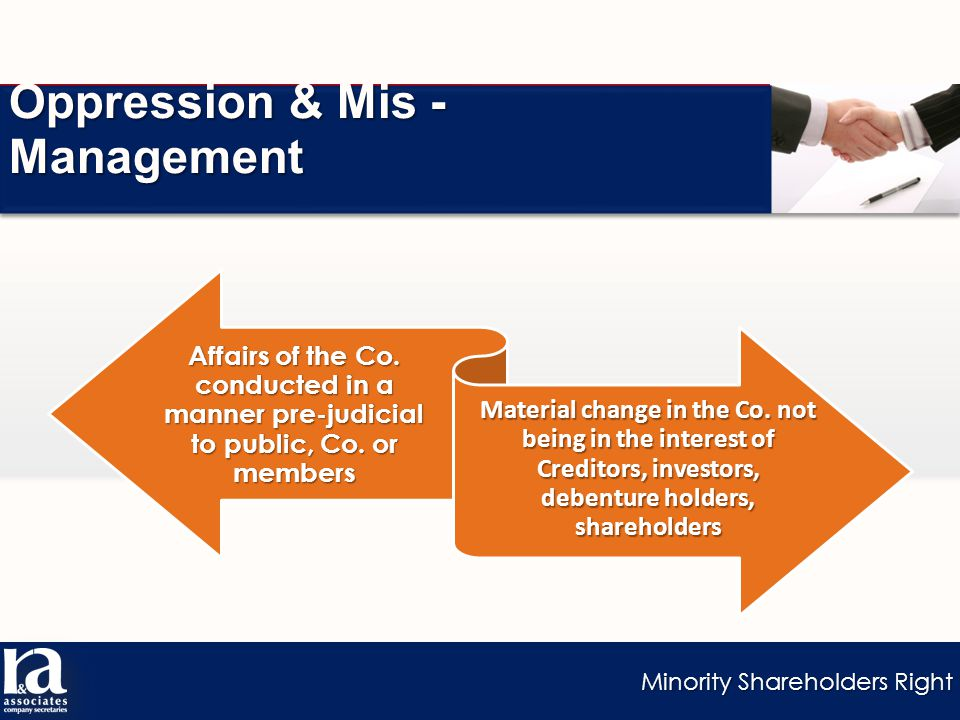 Minority Shareholders Right Oppression & Mis - Management Affairs of the Co.