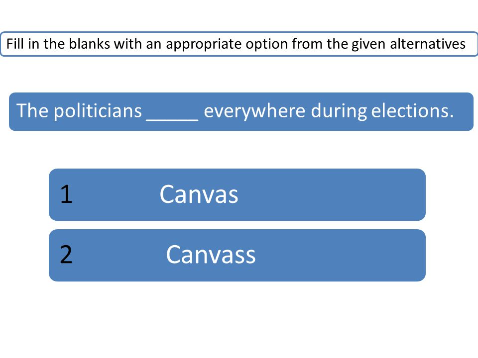 Fill in the blanks with an appropriate option from the given alternatives The politicians _____ everywhere during elections.