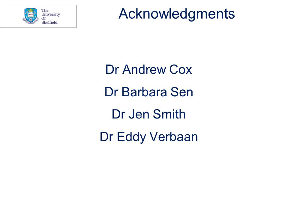 Acknowledgments Dr Andrew Cox Dr Barbara Sen Dr Jen Smith Dr Eddy Verbaan