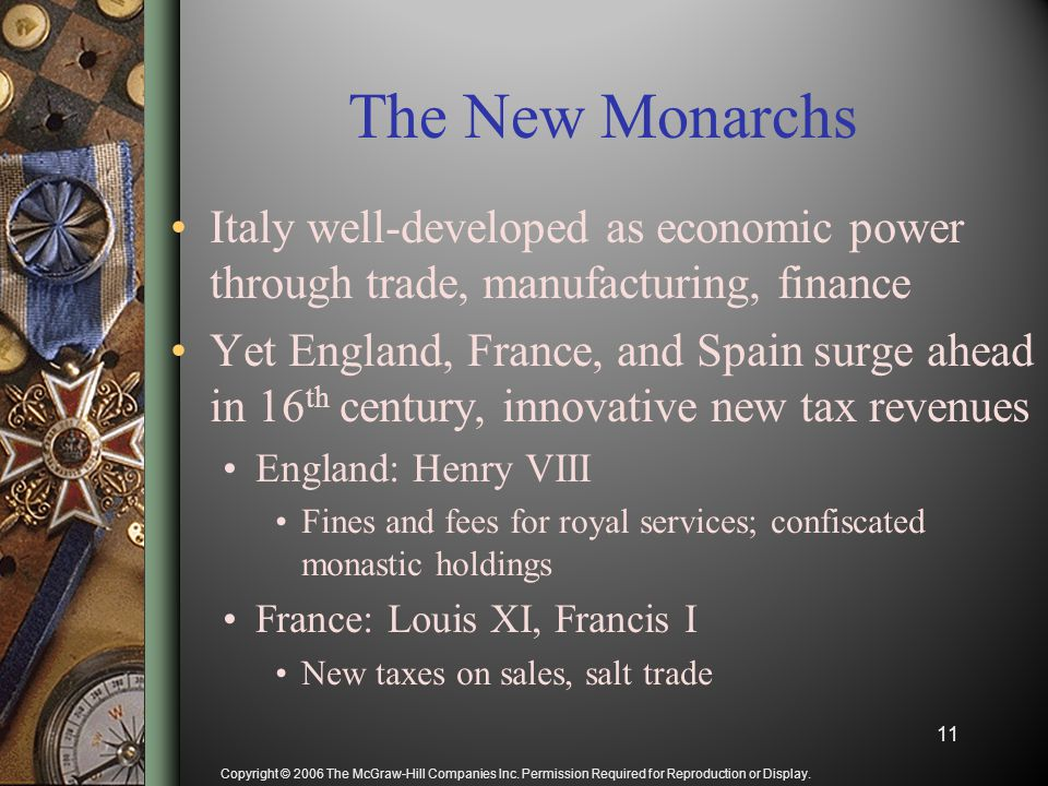 Copyright © 2006 The McGraw-Hill Companies Inc. Permission Required for Reproduction or Display. The New Monarchs Italy well-developed as economic pow