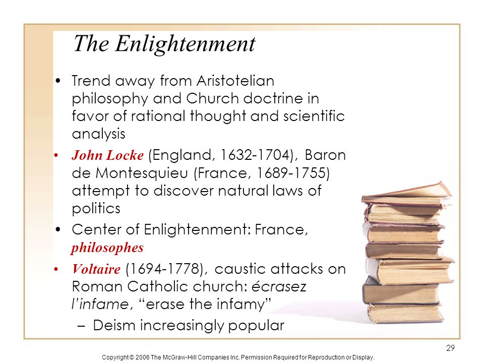 Copyright © 2006 The McGraw-Hill Companies Inc. Permission Required for Reproduction or Display. The Enlightenment Trend away from Aristotelian philos