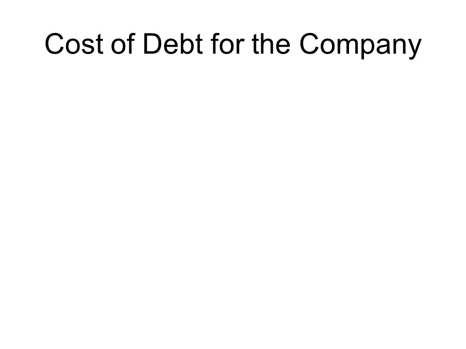 Cost of Debt for the Company