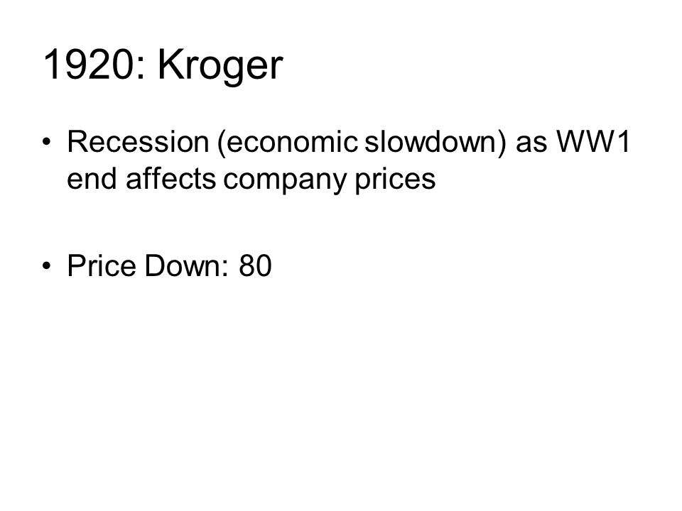 1920: Kroger Recession (economic slowdown) as WW1 end affects company prices Price Down: 80