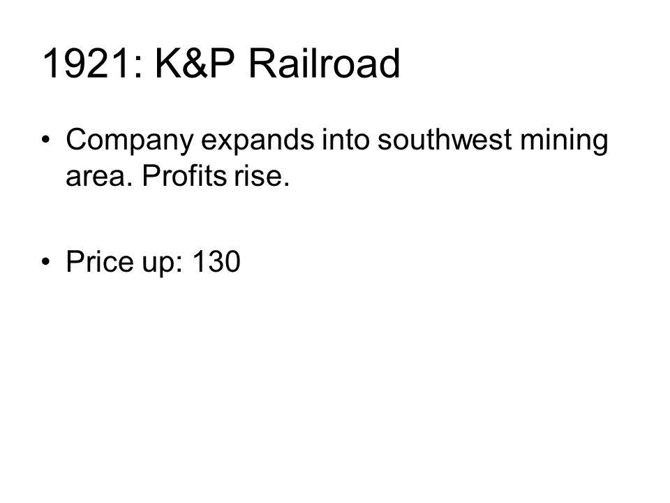 1921: K&P Railroad Company expands into southwest mining area. Profits rise. Price up: 130