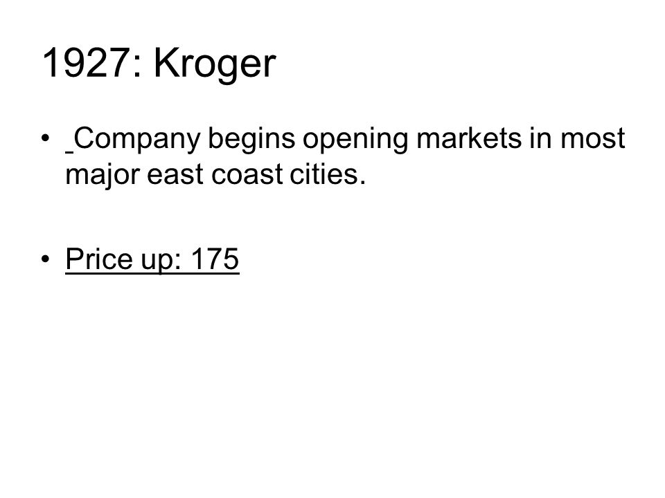 1927: Kroger Company begins opening markets in most major east coast cities. Price up: 175