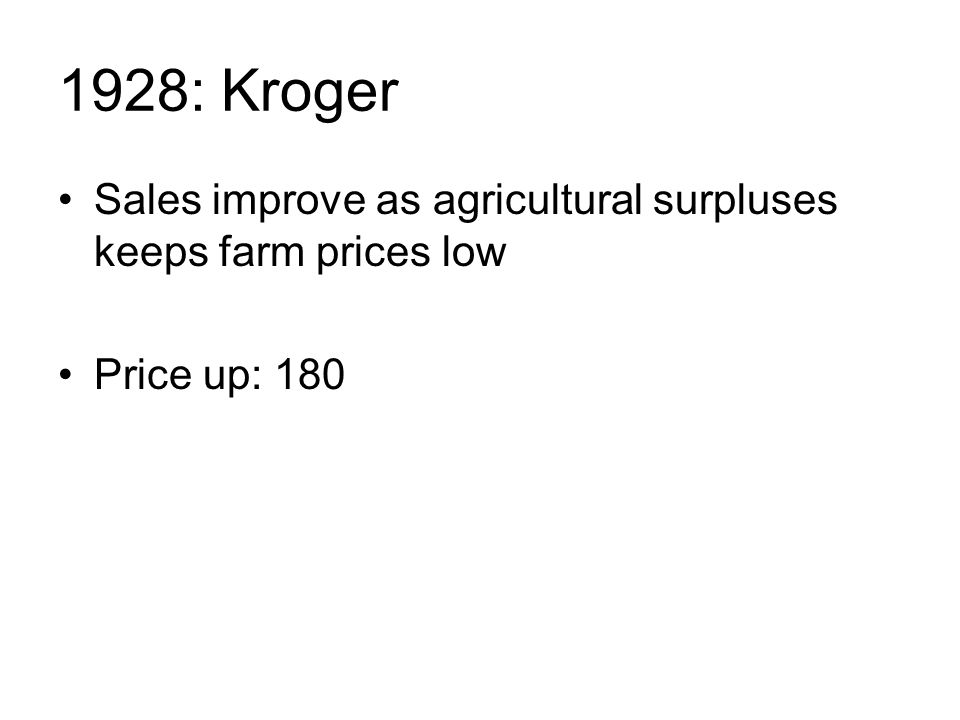 1928: Kroger Sales improve as agricultural surpluses keeps farm prices low Price up: 180