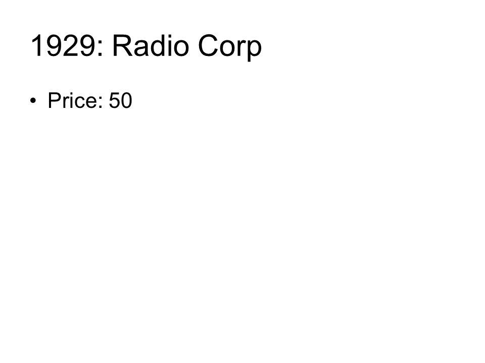 1929: Radio Corp Price: 50