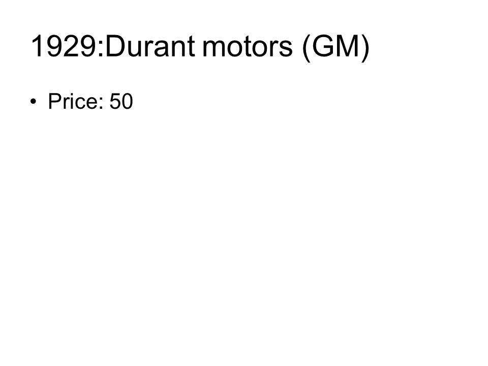 1929:Durant motors (GM) Price: 50