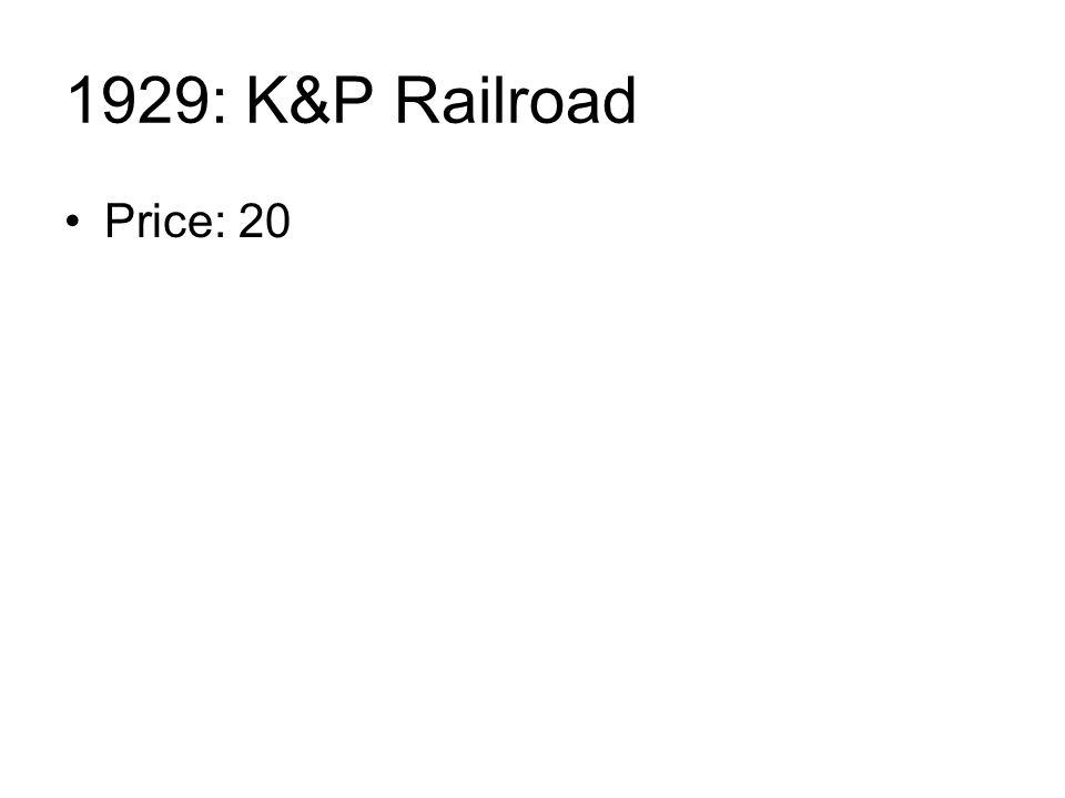 1929: K&P Railroad Price: 20
