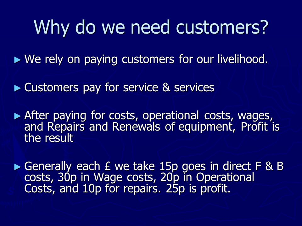 Why do we need customers. ► We rely on paying customers for our livelihood.