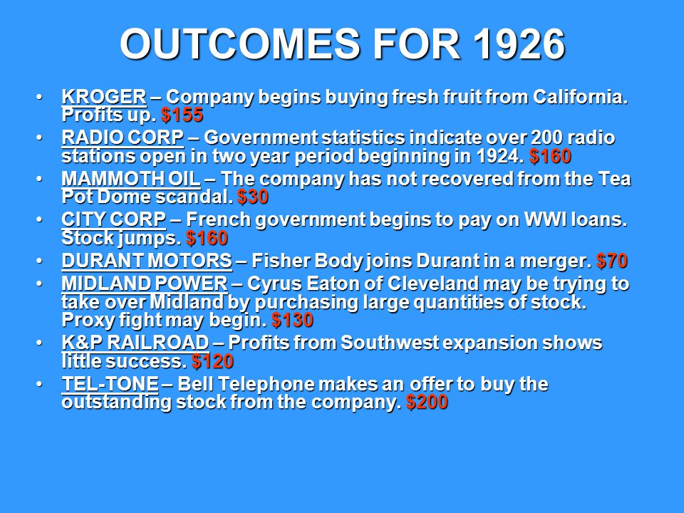 OUTCOMES FOR 1927 KROGER – Company begins opening markets in most major East Coast cities.