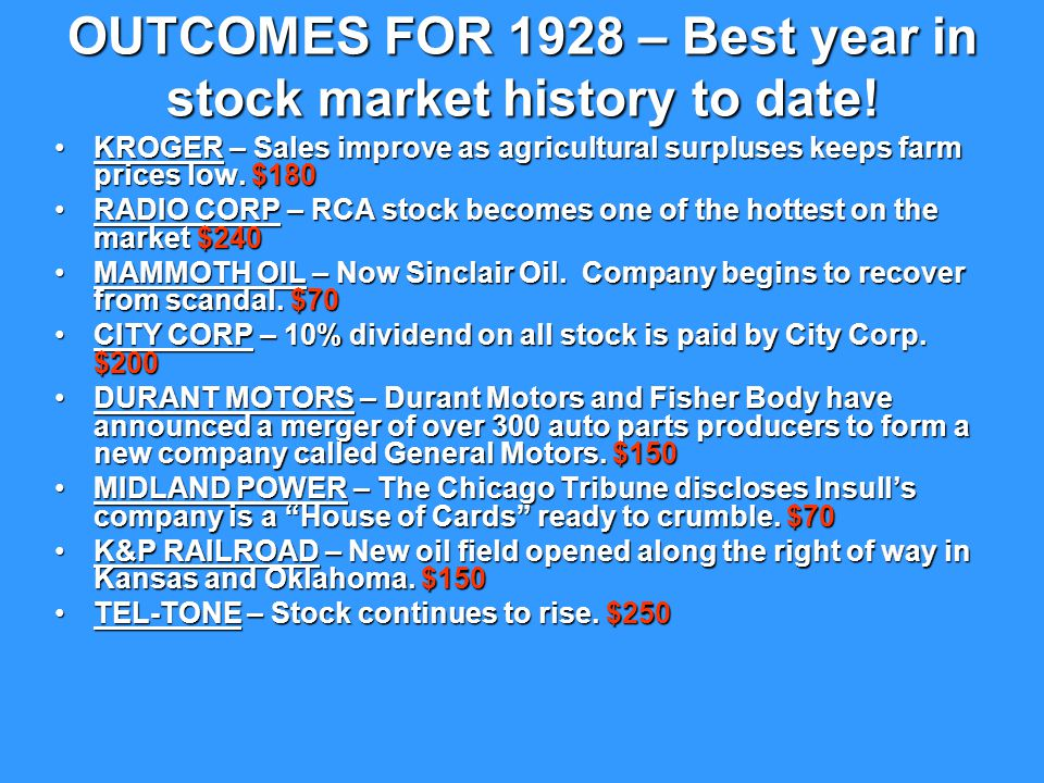 OUTCOMES FOR 1929 Thursday, October 24, 1929: (Black Thursday) 12 million shares are traded in one day on the New York Stock Exchange.