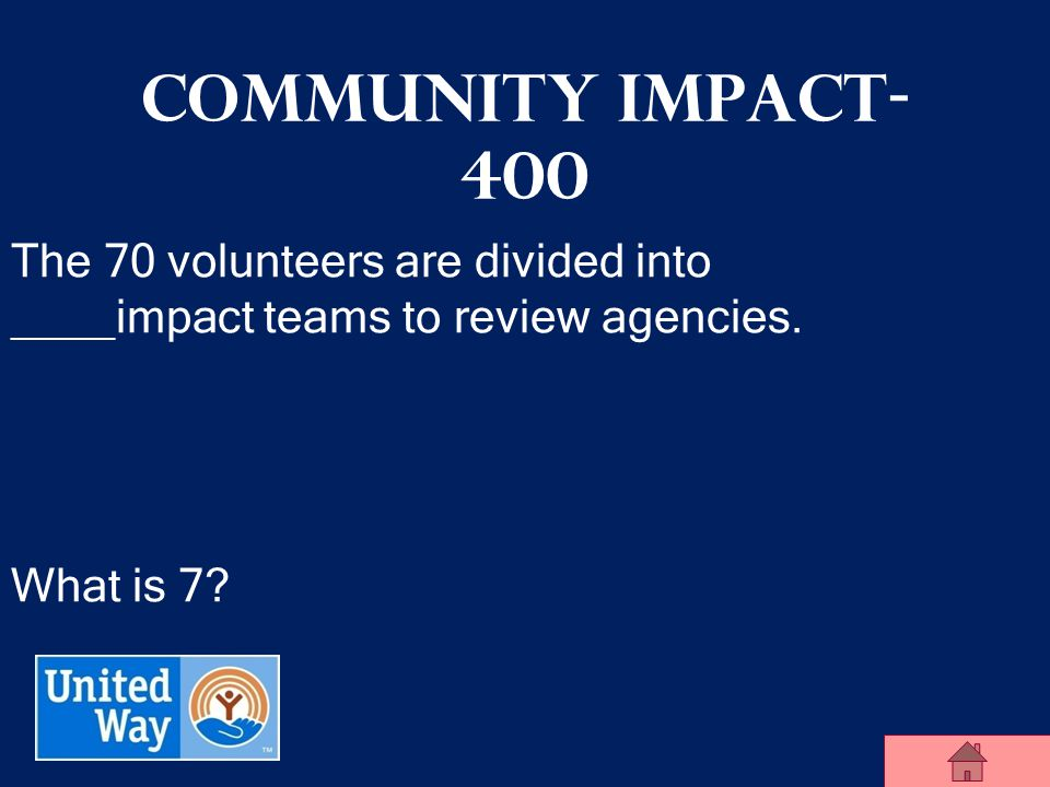 United Way of Midland County Community Impact- 300 True or False: Once an agency receives funding from United Way, they are guaranteed to receive funding forever.