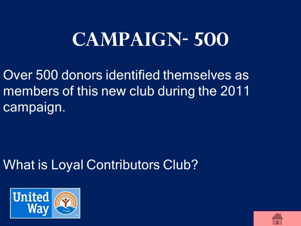 United Way of Midland County Campaign - 400 917 donors donated over $631,000 in the 2011 campaign to make up this group.