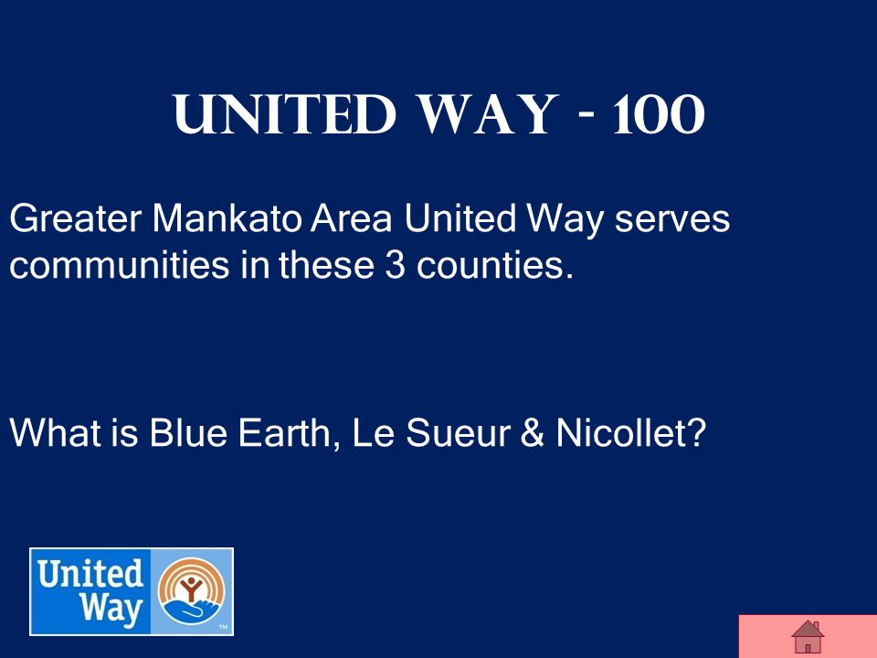 United Way Jeopardy 100 200 300 400 500 100 200 300 400 500 100 200 300 400 500 100 200 300 400 500 100 200 300 400 United Way Community Impact Campai