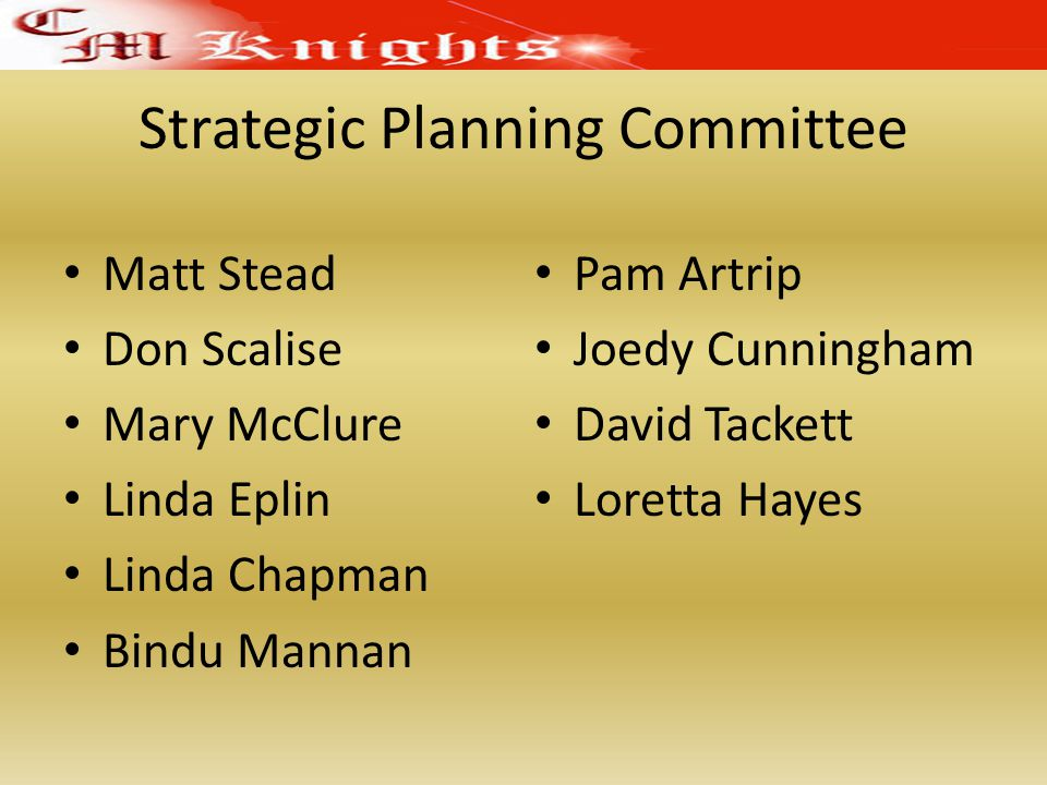 Strategic Planning Committee Matt Stead Don Scalise Mary McClure Linda Eplin Linda Chapman Bindu Mannan Pam Artrip Joedy Cunningham David Tackett Loretta Hayes