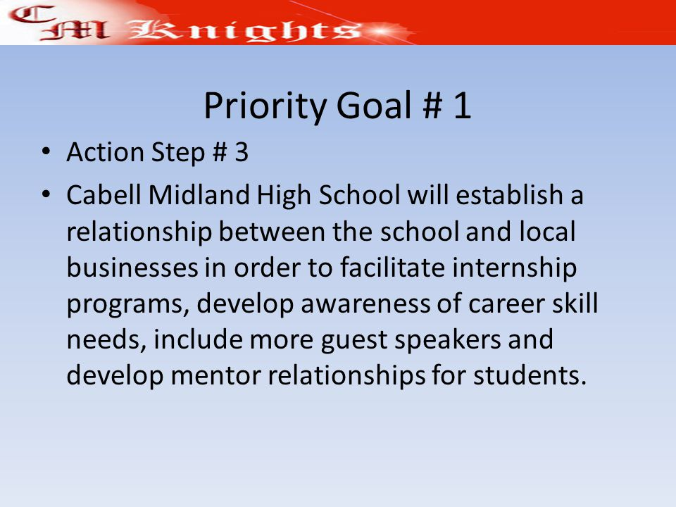 Priority Goal # 1 Action Step # 3 Cabell Midland High School will establish a relationship between the school and local businesses in order to facilitate internship programs, develop awareness of career skill needs, include more guest speakers and develop mentor relationships for students.