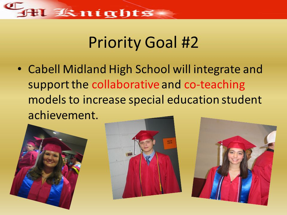 Priority Goal #2 Cabell Midland High School will integrate and support the collaborative and co-teaching models to increase special education student achievement.