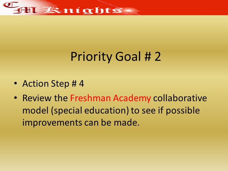 Priority Goal # 2 Action Step # 4 Review the Freshman Academy collaborative model (special education) to see if possible improvements can be made.
