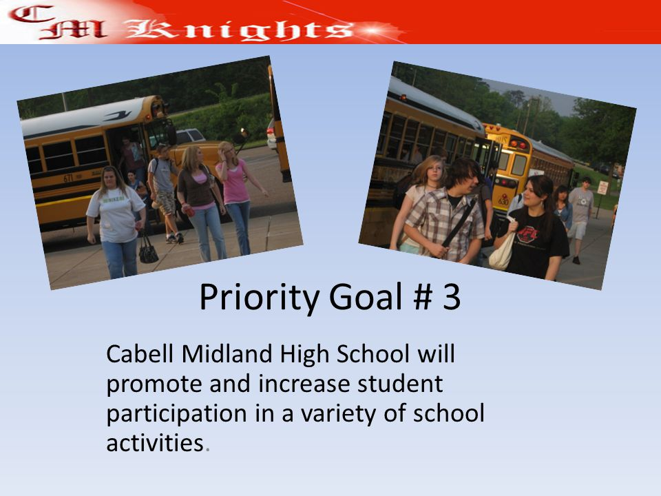 Priority Goal # 3 Cabell Midland High School will promote and increase student participation in a variety of school activities.