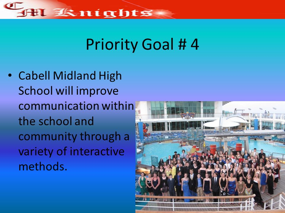 Priority Goal # 4 Cabell Midland High School will improve communication within the school and community through a variety of interactive methods.