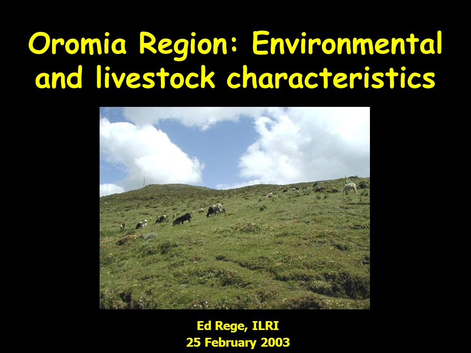 Oromia Region: Environmental and livestock characteristics Ed Rege, ILRI 25 February 2003