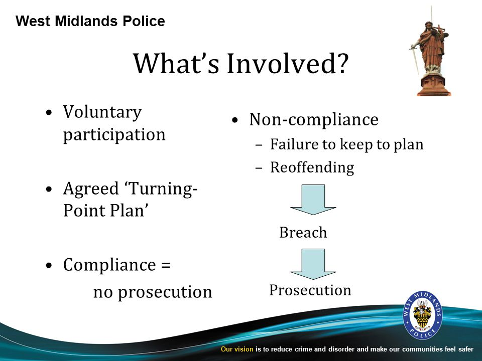 West Midlands Police Our vision is to reduce crime and disorder and make our communities feel safer What's Involved.