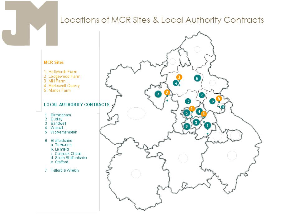 Locations of MCR Sites & Local Authority Contracts