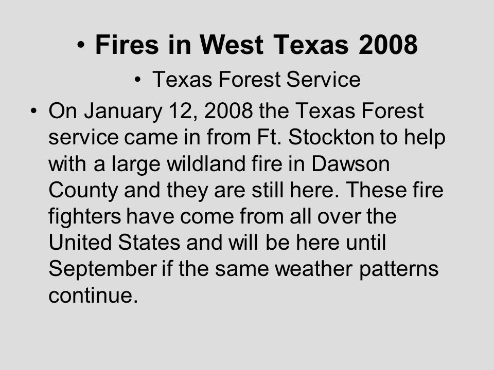 Fires in West Texas 2008 Texas Forest Service On January 12, 2008 the Texas Forest service came in from Ft. Stockton to help with a large wildland fir