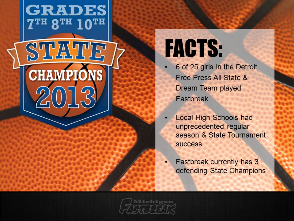 FACTS: 6 of 25 girls in the Detroit Free Press All State & Dream Team played Fastbreak Local High Schools had unprecedented regular season & State Tournament success Fastbreak currently has 3 defending State Champions