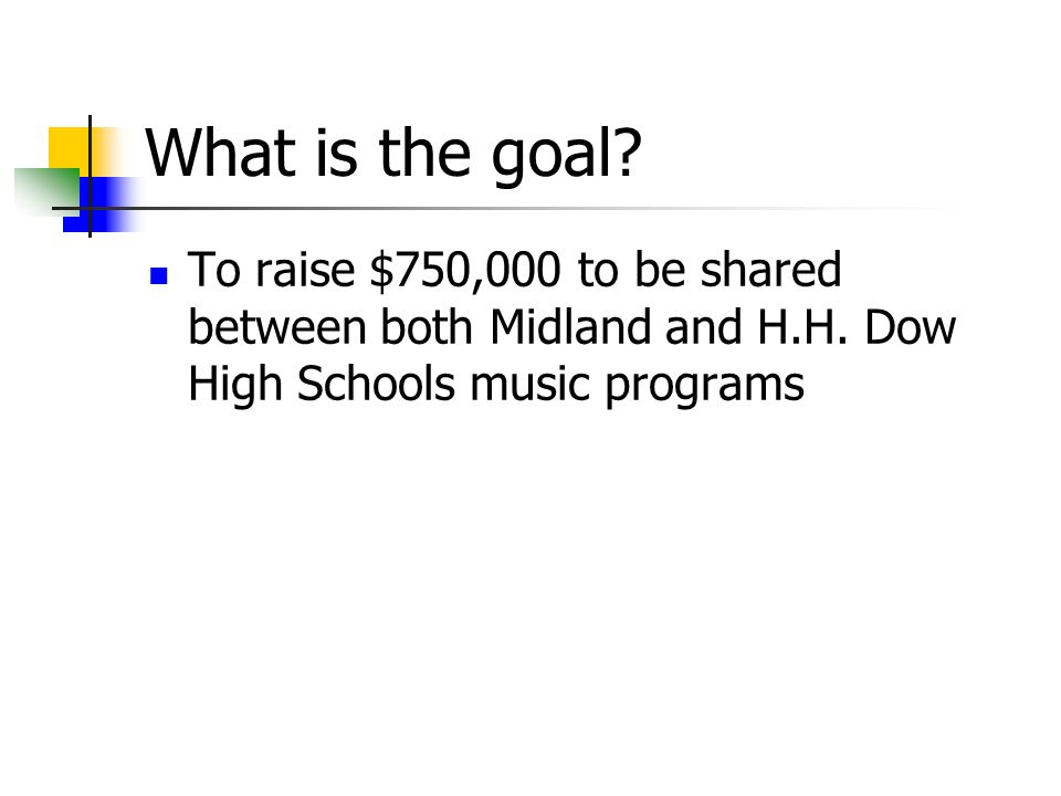 What is the goal. To raise $750,000 to be shared between both Midland and H.H.