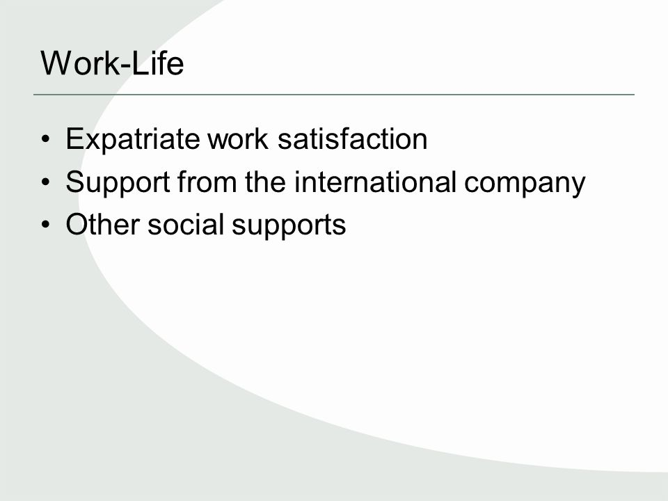 Work-Life Expatriate work satisfaction Support from the international company Other social supports