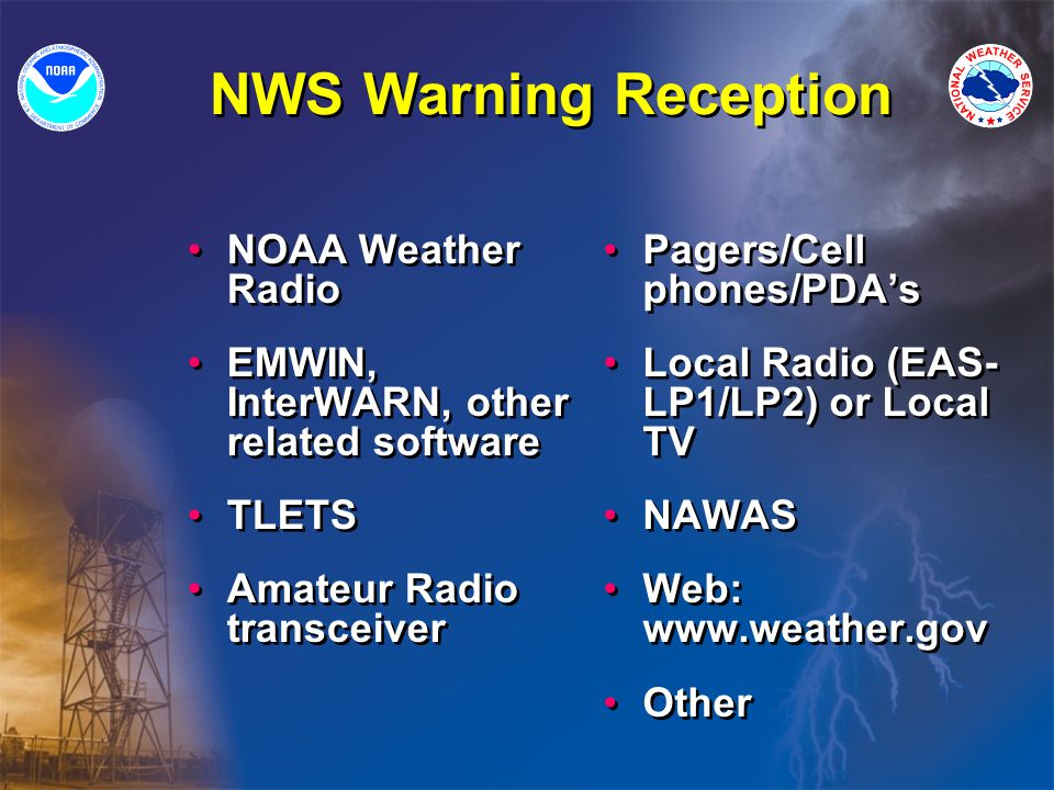 NWS Warning Reception NOAA Weather Radio EMWIN, InterWARN, other related software TLETS Amateur Radio transceiver NOAA Weather Radio EMWIN, InterWARN, other related software TLETS Amateur Radio transceiver Pagers/Cell phones/PDA's Local Radio (EAS- LP1/LP2) or Local TV NAWAS Web: www.weather.gov Other