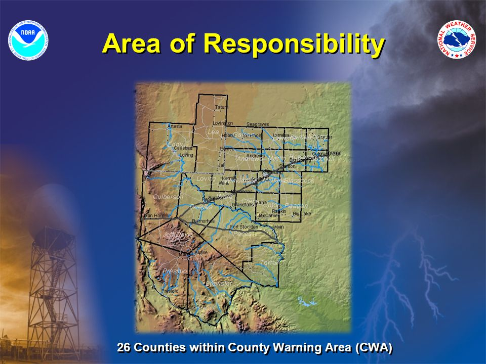 Responsibilities WFO Midland PublicAviationFire WeatherHydrology ForecastsWatches/Warnings