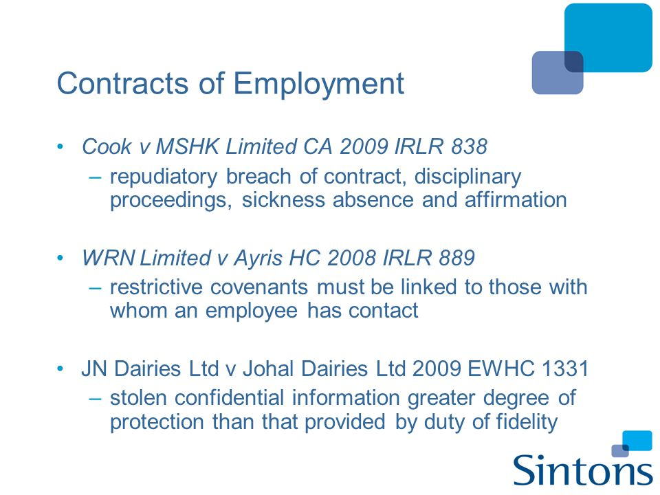 Contracts of Employment Cook v MSHK Limited CA 2009 IRLR 838 –repudiatory breach of contract, disciplinary proceedings, sickness absence and affirmati