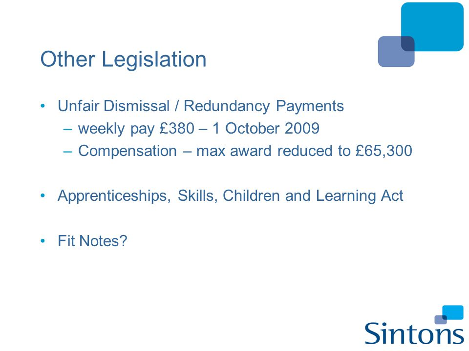 Other Legislation Unfair Dismissal / Redundancy Payments –weekly pay £380 – 1 October 2009 –Compensation – max award reduced to £65,300 Apprenticeship