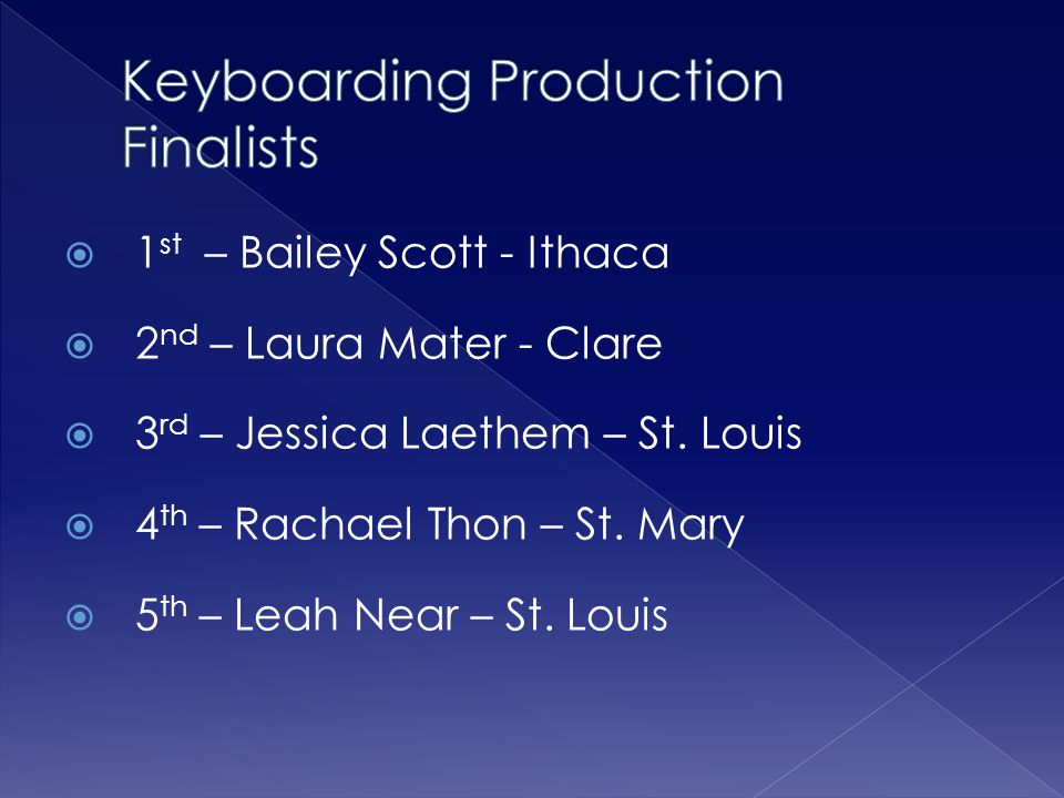  1 st – Bailey Scott - Ithaca  2 nd – Laura Mater - Clare  3 rd – Jessica Laethem – St. Louis  4 th – Rachael Thon – St. Mary  5 th – Leah Near –