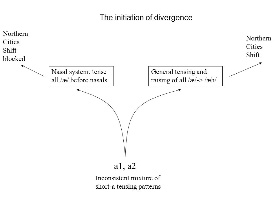 The initiation of divergence a1, a2 Inconsistent mixture of short-a tensing patterns Nasal system: tense all /æ/ before nasals General tensing and raising of all /æ/-> /æh/ Reversible