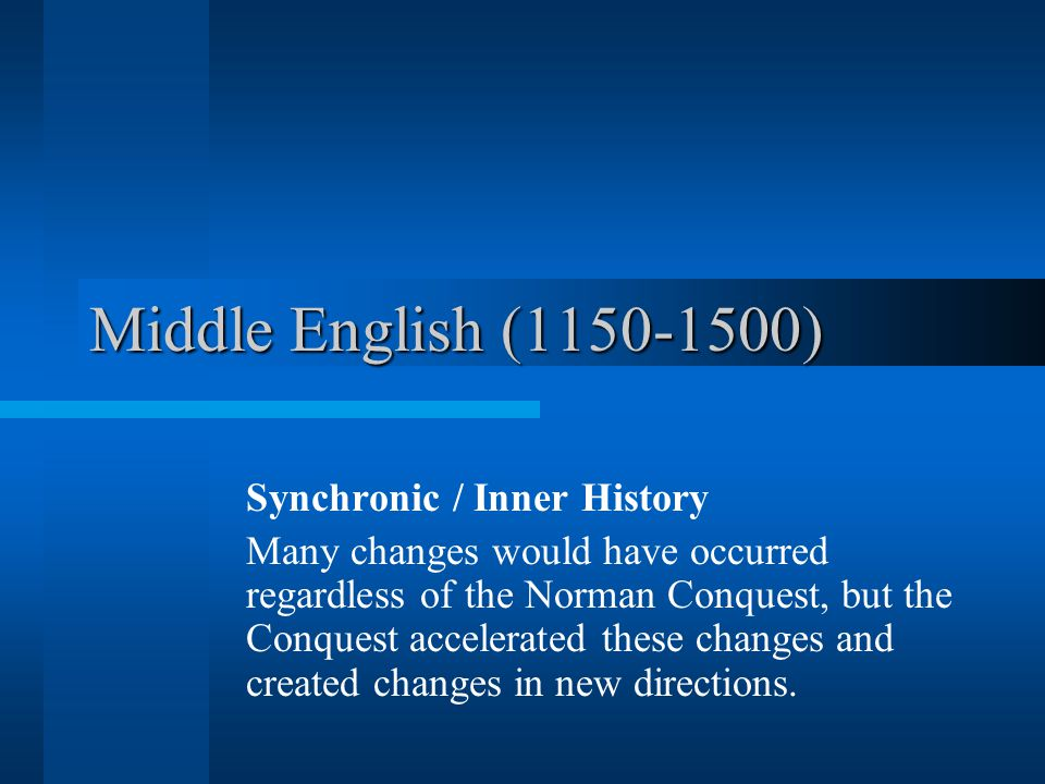Middle English Vocabulary A significant event (French Invasion) that drastically changes the word stock of English During this period, approximately 10,000 words enter the language.