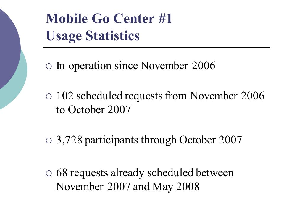 Mobile Go Center #1 Usage Statistics  In operation since November 2006  102 scheduled requests from November 2006 to October 2007  3,728 participants through October 2007  68 requests already scheduled between November 2007 and May 2008